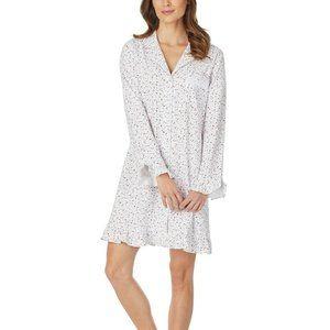NEW! Eileen West Printed Ruffle-Trim Sleep Shirt